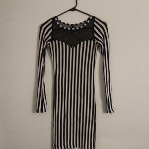 Love Culture Black n' White Stripped Bodycon Dress
